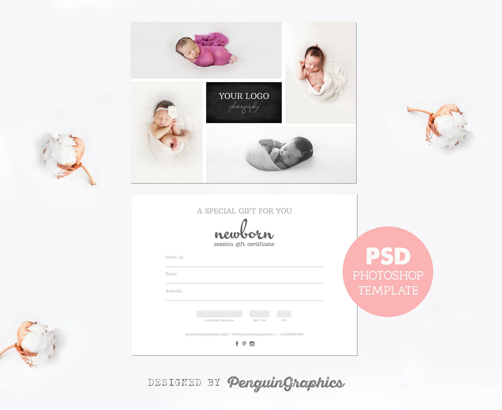 Gift certificate template. Photography mini session gift card ...