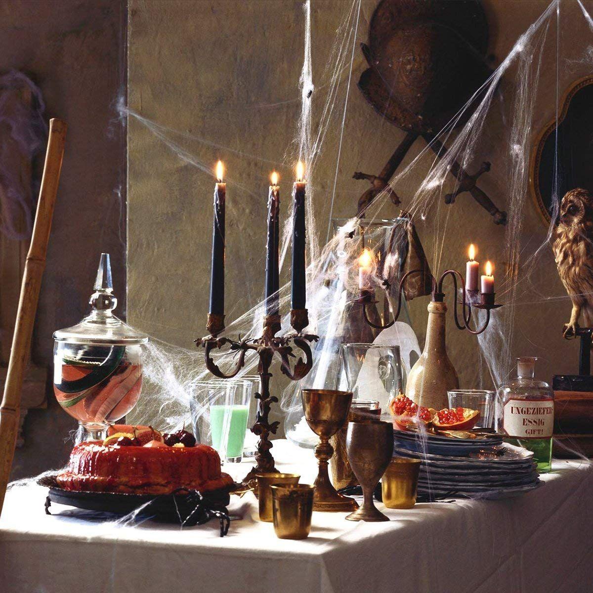 Gruselige Halloween Party Deko Perfekt Um An Halloween Das Haus Innen Oder Aussen Zu Verkleiden Der Clou Das Riesi Halloween Spinnennetz Spinnennetz Spinne