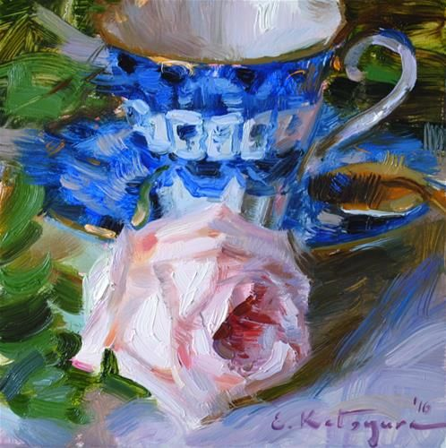 "Daily Paintworks - ""Blue Teacup and Rose"" - Original Fine Art for Sale - © Elena Katsyura"