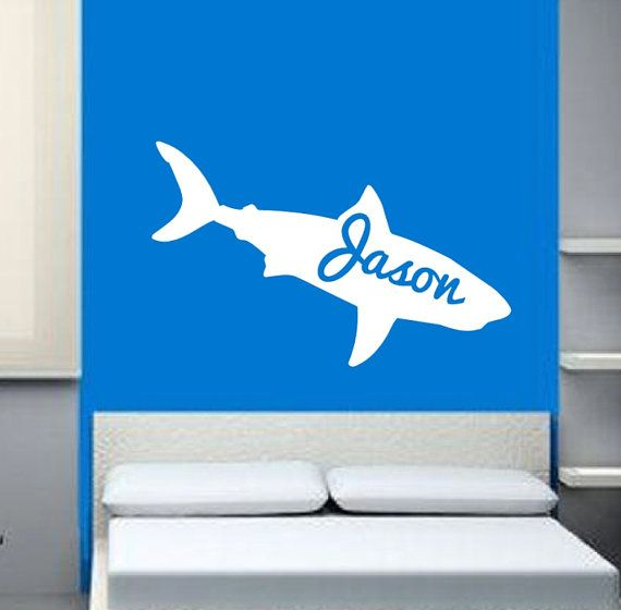 Personalized Shark Vinyl Wall Decal #walldecal #name #personalized #shark