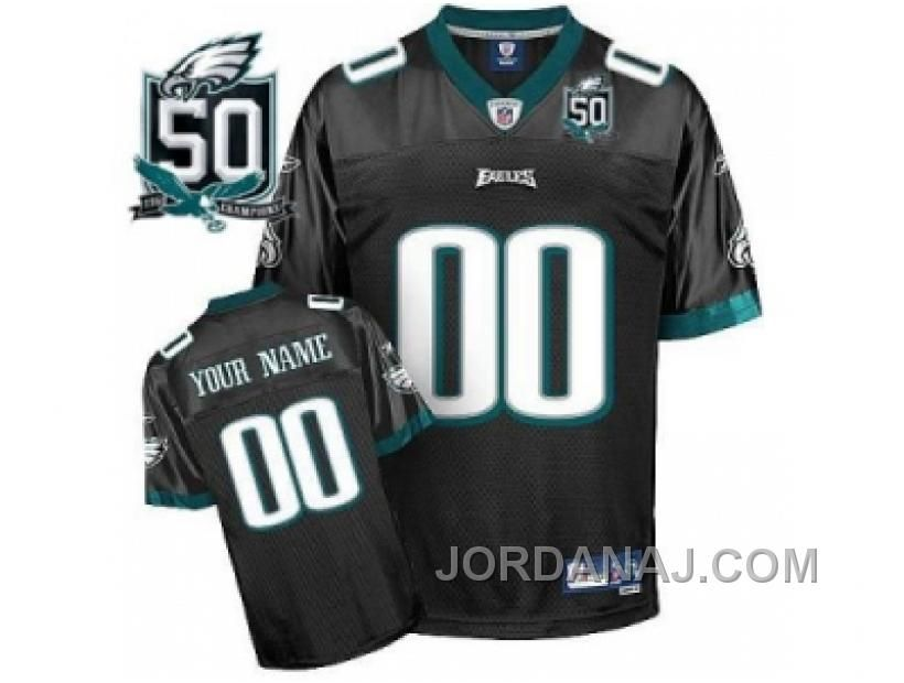 Customized Philadelphia Eagles Jersey Eqt Black With Team 50th Patch  Football Jersey-Customized NFL Jerseys 239508071