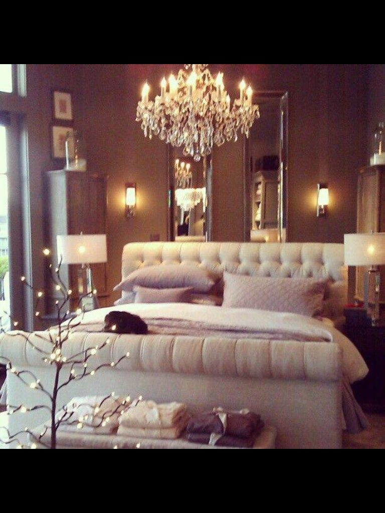 Romantic bedroom Upholstered bed frame maybe a