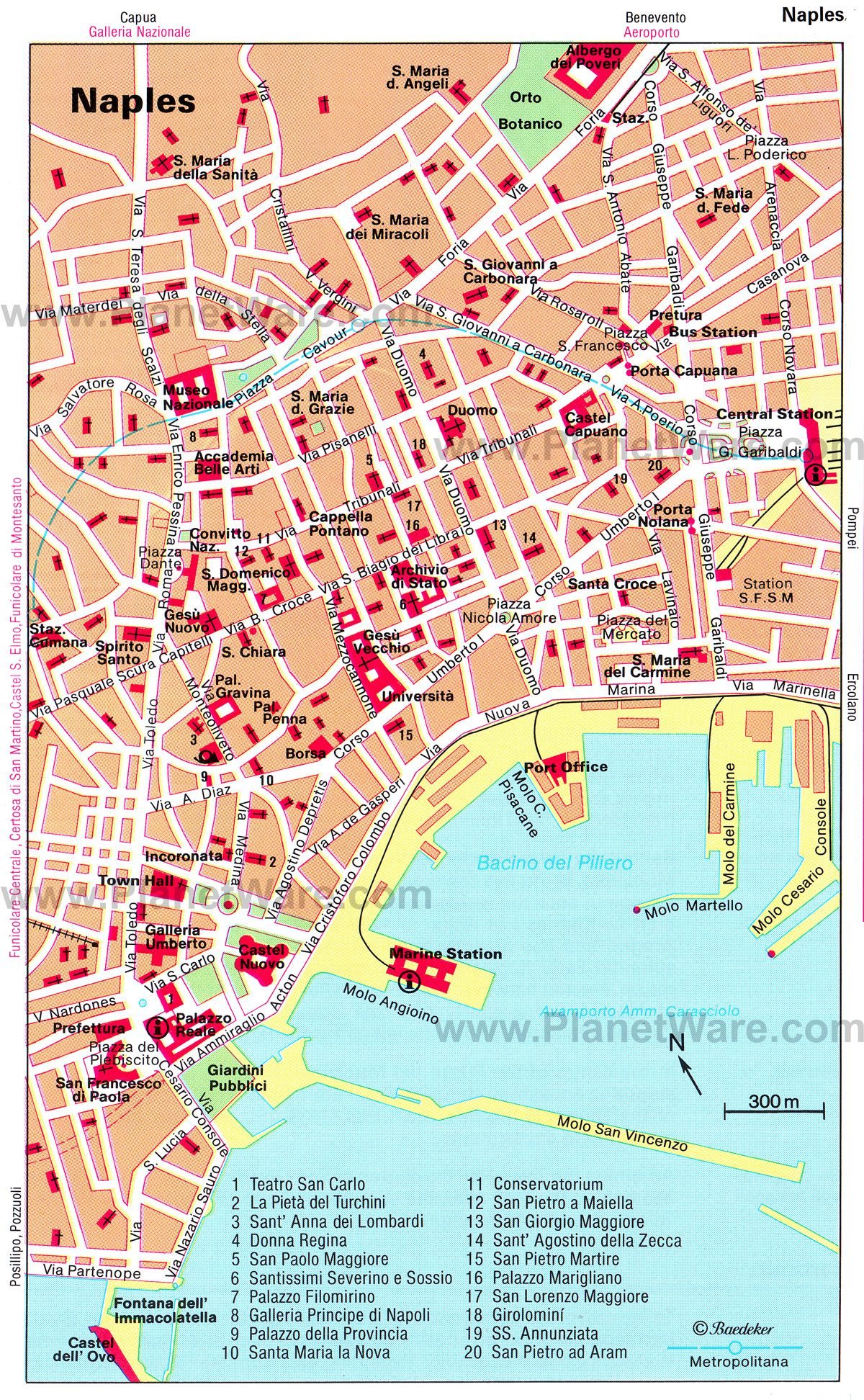 Map of Naples Tourist Attractions PlanetWare Southern