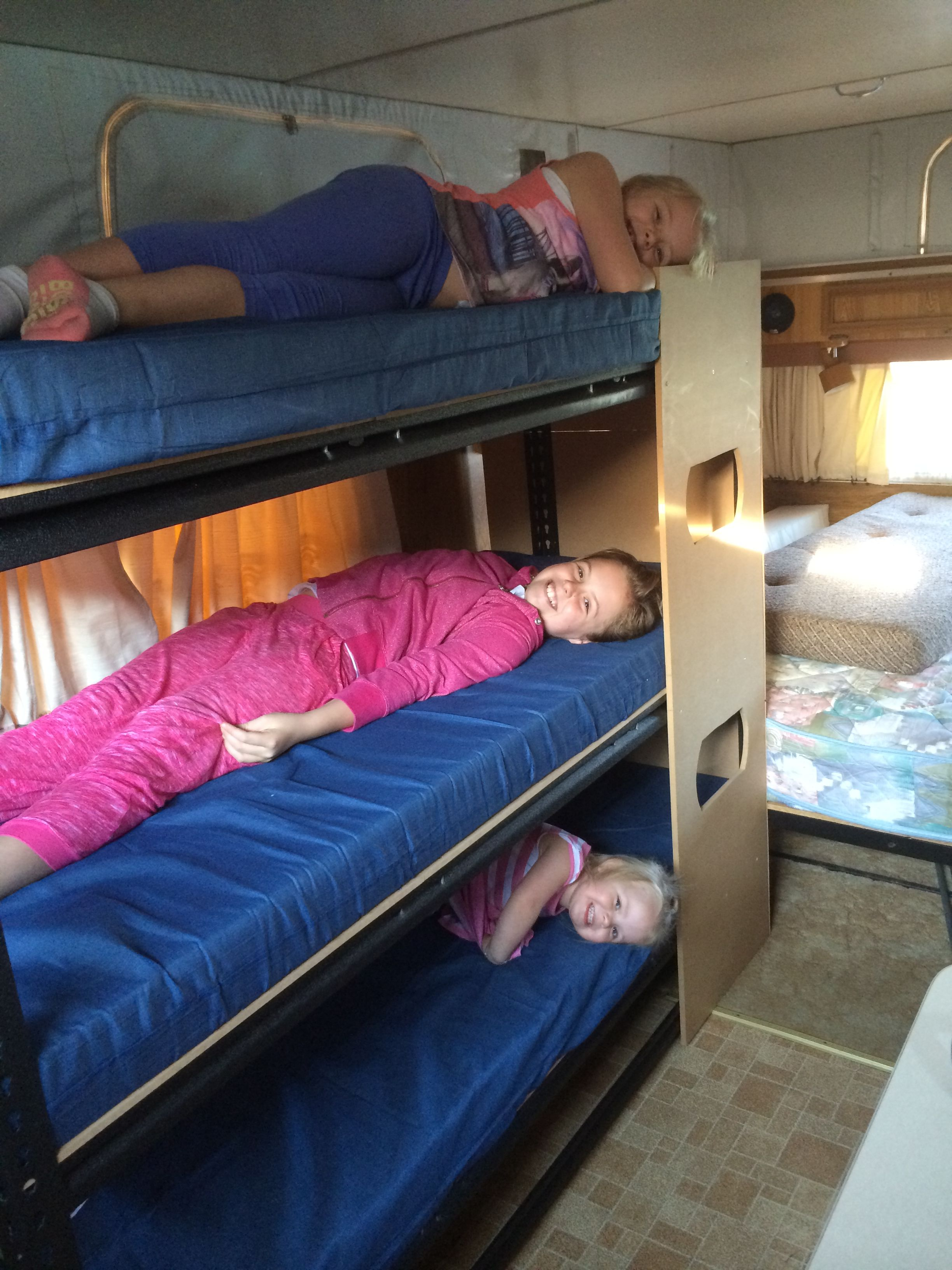 Triple Bunk Made From Garage Shelving From Bunnings Mattresses