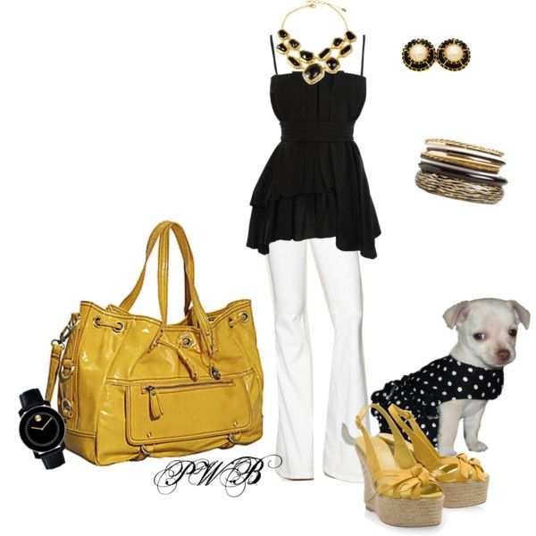"""Polka Dotted Dog and yellow"" by pamela-barrett-williamson on Polyvore"