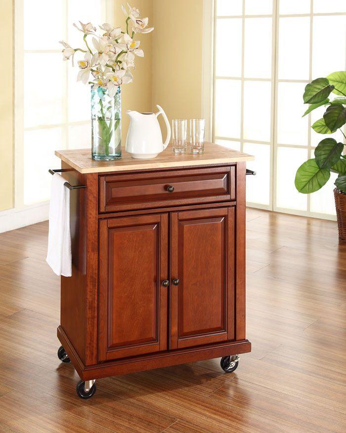 Crosley Furniture KF30021ECH Natural Wood Top Portable Kitchen Cart/Island in Classic Cherry Finish