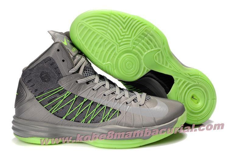 Nike 2013 Womens Lunar Hyperdunk Grey Volt Green Basketball Shoes