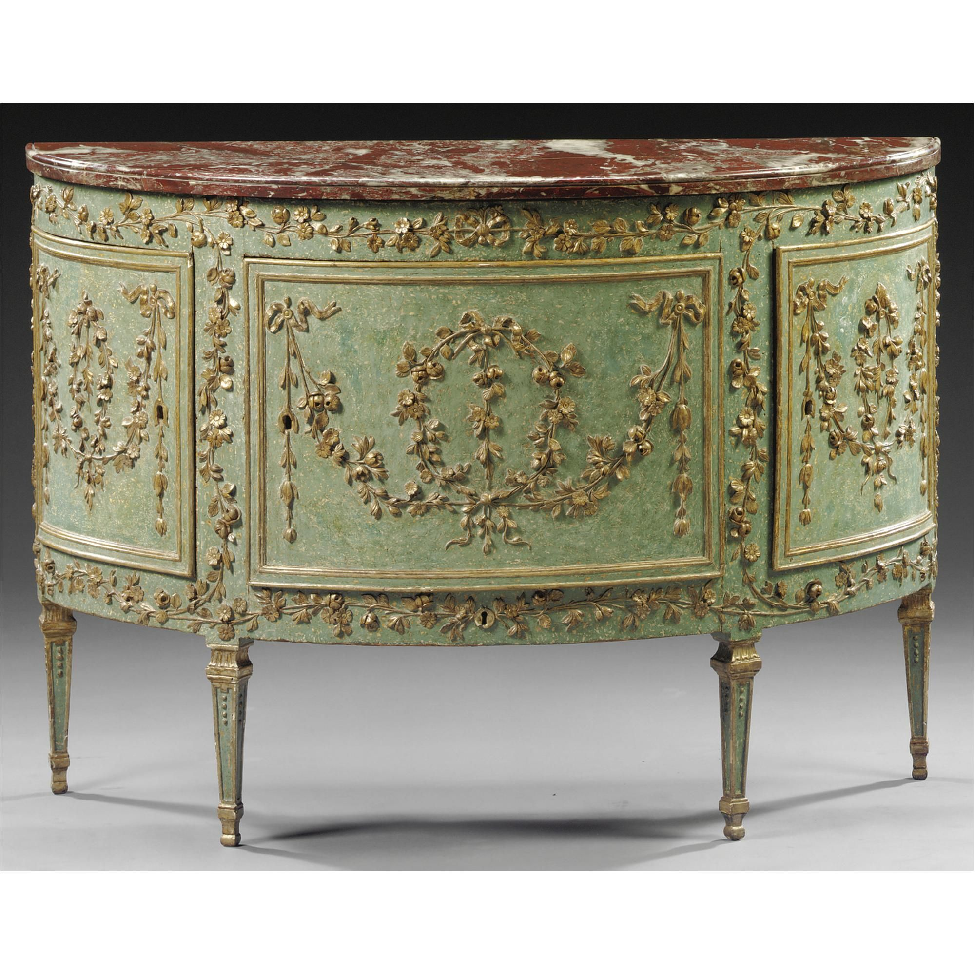 Vintage Furniture A Piedmontese Demi Lune Carved And Painted Wood Commode,