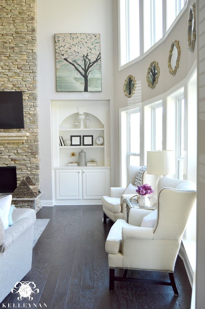 White interior with dark hard wood floors