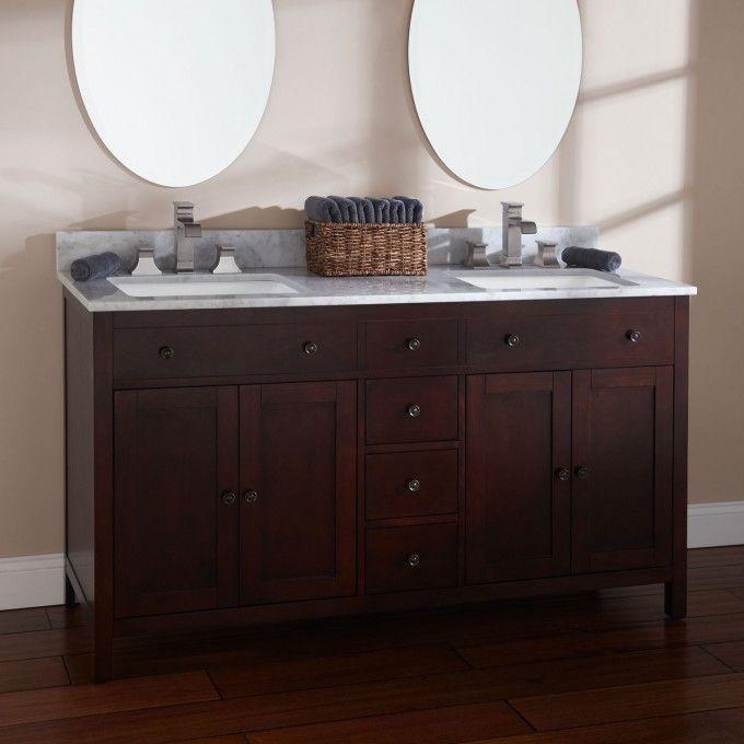 60 vargas cherry double vanity for rectangular undermount sinks rh pinterest com