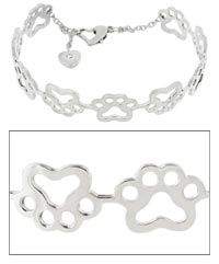 Stainless Steel Paw Print Cuff Bracelet at The Animal Rescue Site