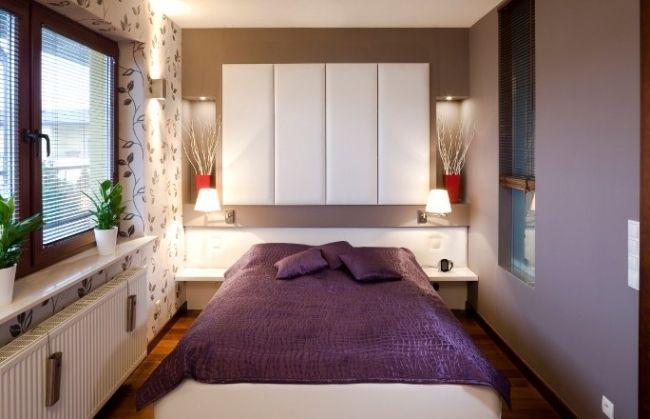 kleines schlafzimmer deko lila decke mustertapeten wohnideen - schlafzimmer deko bilder