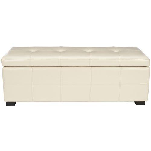 Flat Cream Leather Large Storage Bench Safavieh Home Furniture