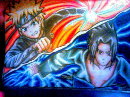 My Colored Pencil Drawing Of Naruto And Sasuke Colored Pencil