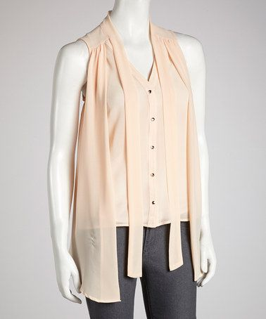 Take a look at this Peach Chiffon Neck-Tie Top by Tasha Apparel on #zulily today! $17 !!
