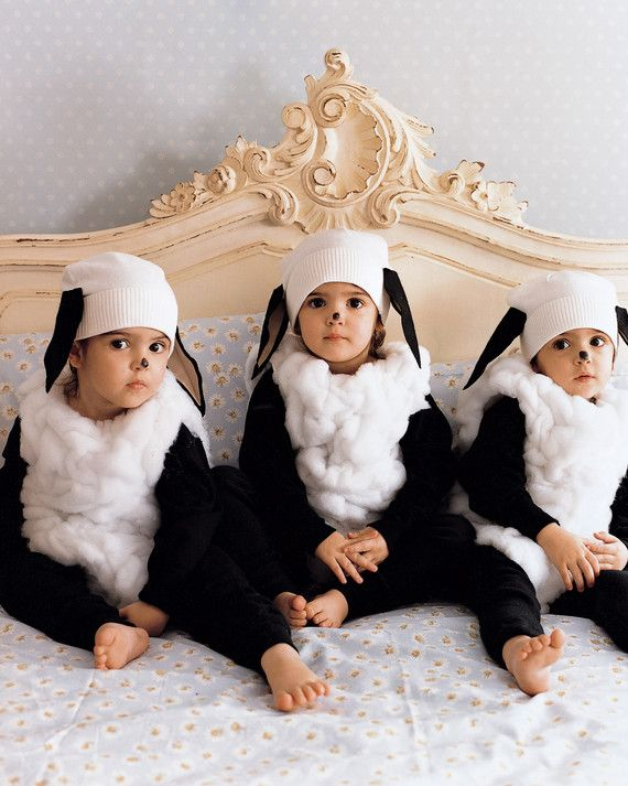 "These three little sheep can't wait to graze on candy. Their ""fleece"" is wool batting, gathered and sewn to a sleeveless leotard, which is worn over a black long-sleeved shirt and leggings. A cotton hat with floppy felt ears and a dot of face paint complete the costume. For children ages 3 and older."