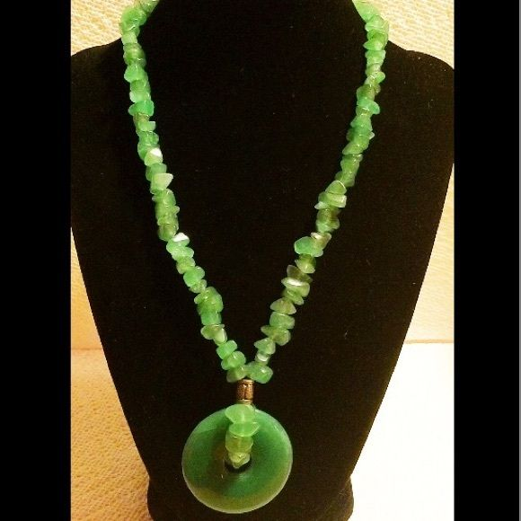 """Vintage Aventurine Necklace With Donut  Pendant Beautiful vintage aventurine necklace with donut pendant and chip beads.  Has a screw In excellent condition.  Measures 18"""" long.  Pendant has a diameter of 1-1/2""""   Please contact me if you have any questions. Jewelry Necklaces"""