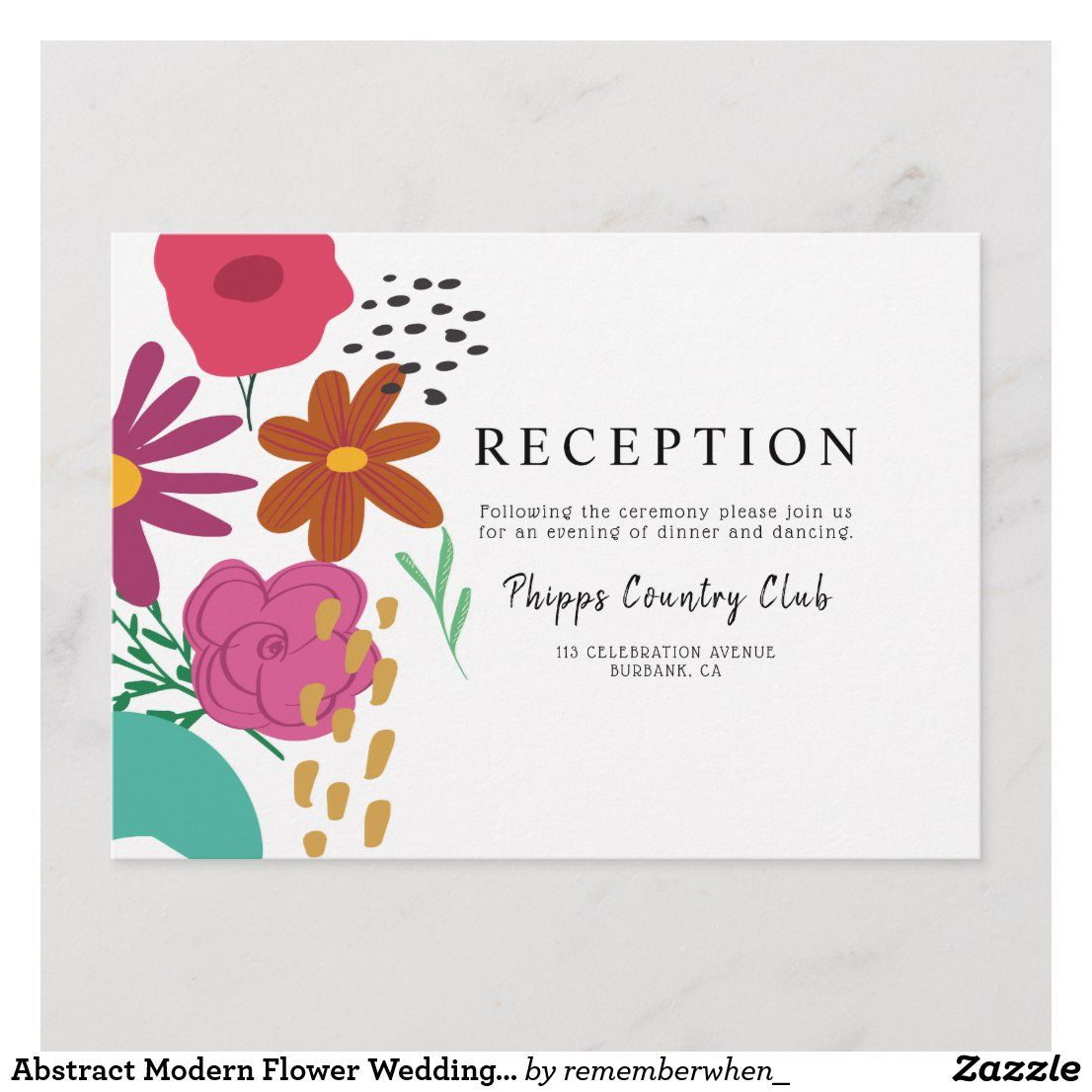Reception Following Ceremony Wording: Abstract Modern Flower Wedding Reception Enclosure Card