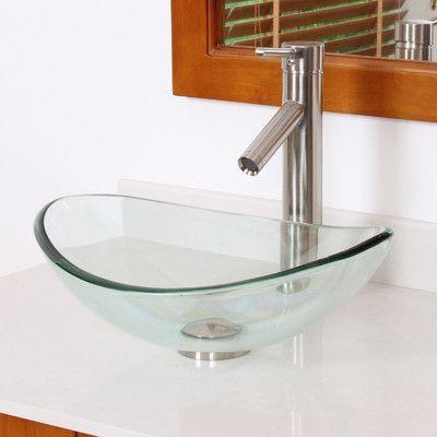 Elite Mini Tempered Glass Boat Shaped Oval Bowl Bottom Vessel