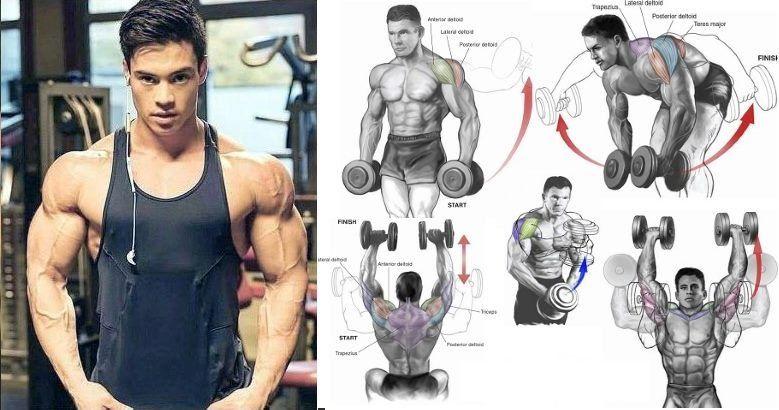 The 5 Most Effective Shoulder Dumbbell Exercises for V-taper Physique - GymGuider.com #dumbbellexercises