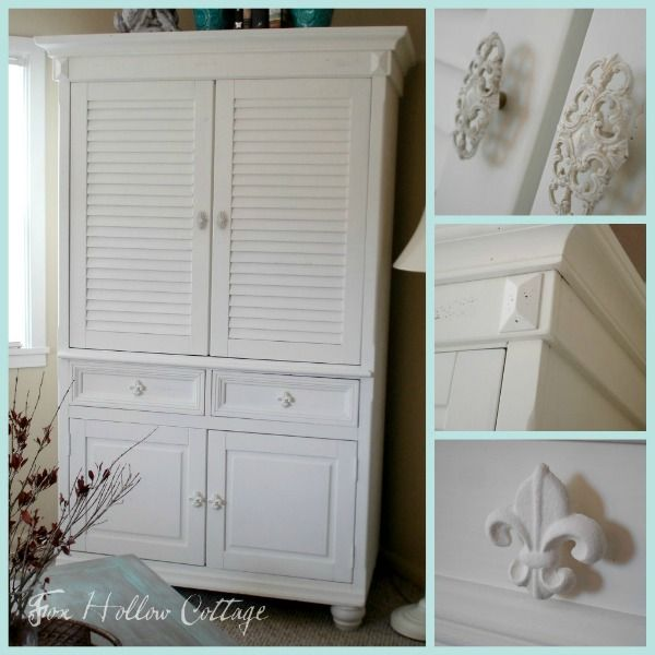 Superb White Cottage Style Shutter Entertainment Armoire