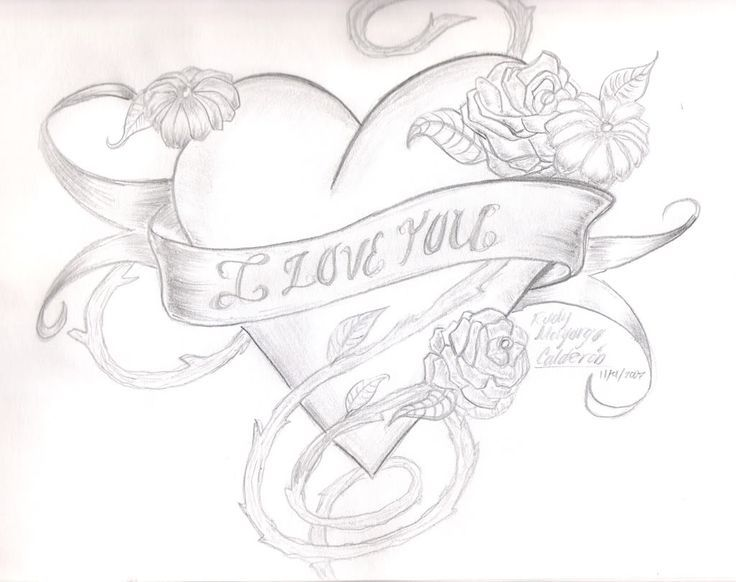 Hearts And Flowers Cool Heart Drawings I Love You Drawings