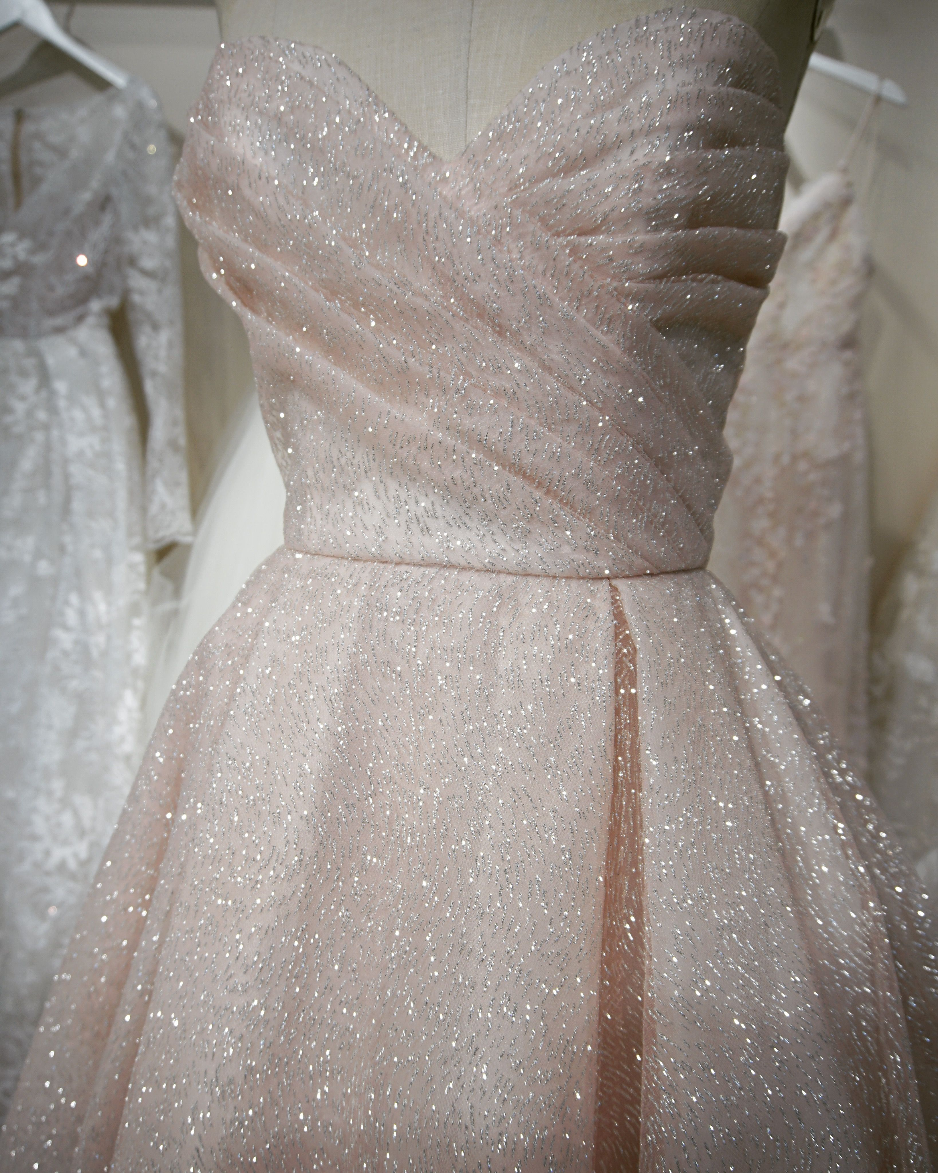 740c71804435 Lazaro bridal gown - Blush shimmer tulle bridal ball gown, strapless  sweetheart neckline, draped bodice with natural waist, box pleated skirt  with side ...