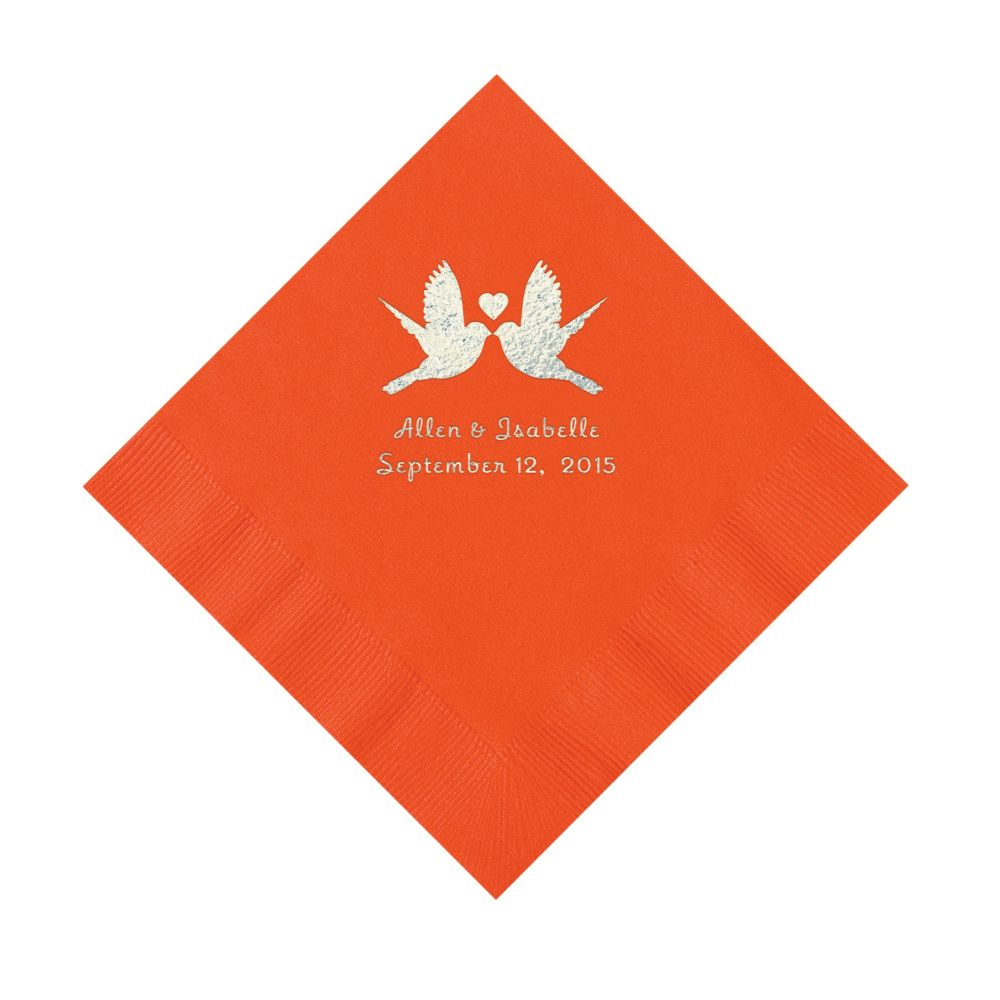Wedding Personalized Napkins orange love birds personalized napkins luncheon liebe luncheon