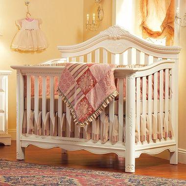 Munire Savannah Lifetime Crib In Linen White Convertible