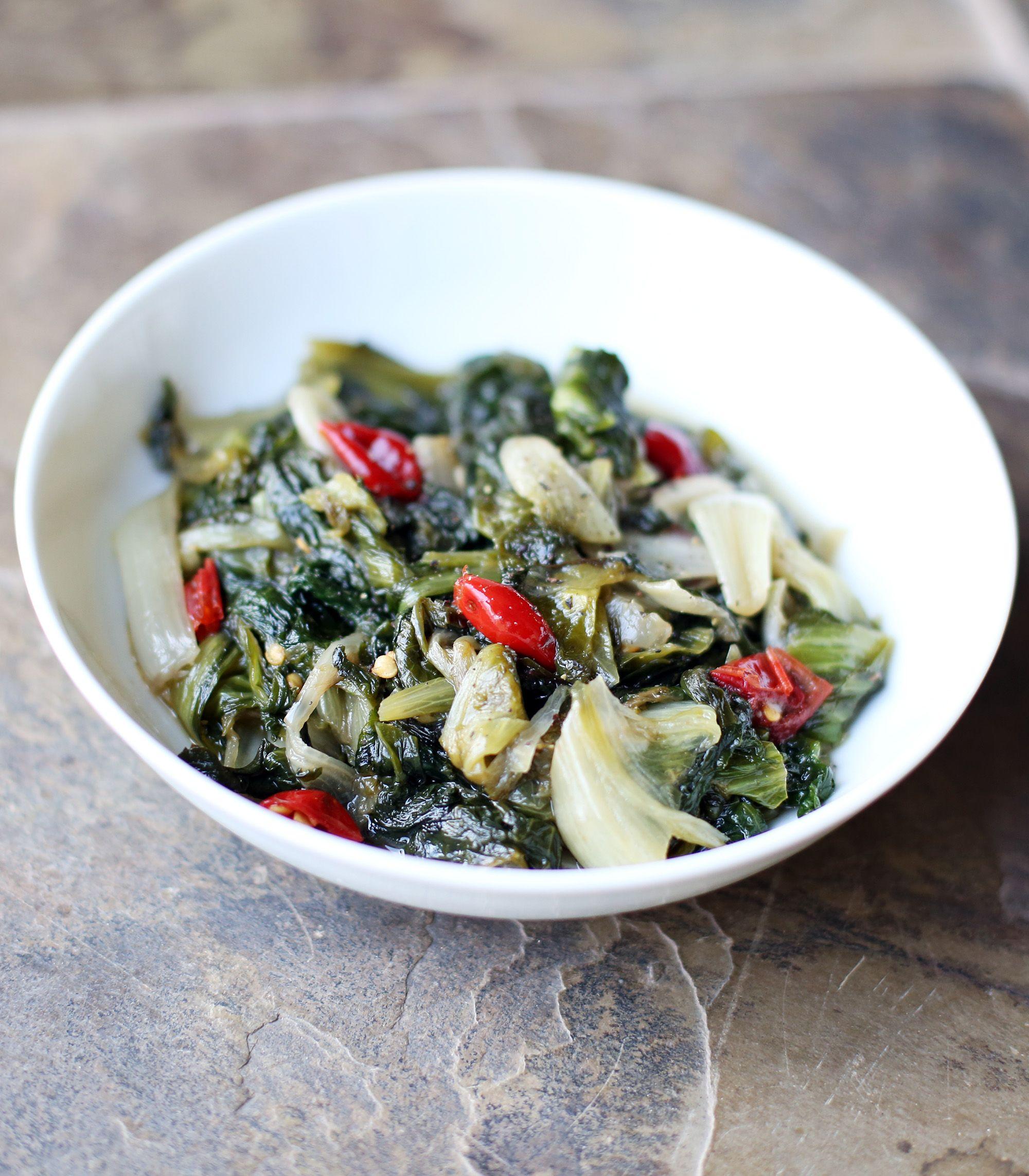 Braised Escarole With Anchovies, Garlic & Calabrian