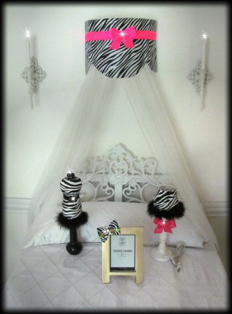 Cornice Teester Bed Crib Crown Canopy Swag Suzette Zebra Hot Pink Bows Wall hanging & Cornice Teester Bed Crib Crown Canopy Swag Suzette Zebra Hot Pink ...