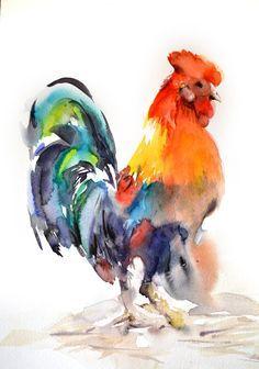 Peinture de coq peinture aquarelle originale art de l - Coq a dessiner ...