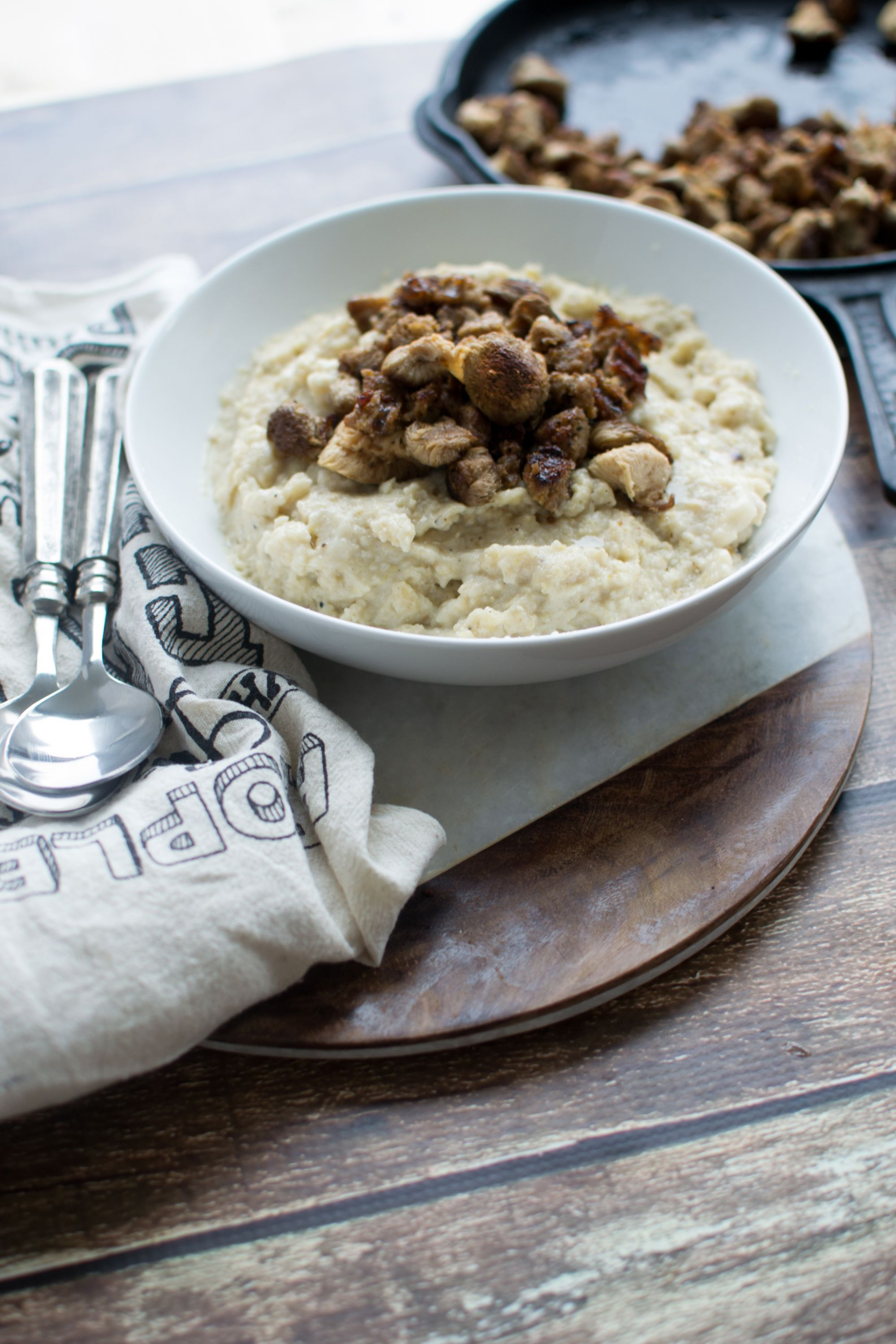 Creamy Parsnip Grits With Lion S Mane Mushrooms And Andouille Sausage Stuffed Mushrooms Lions Mane Mushroom Recipe Andouille Sausage