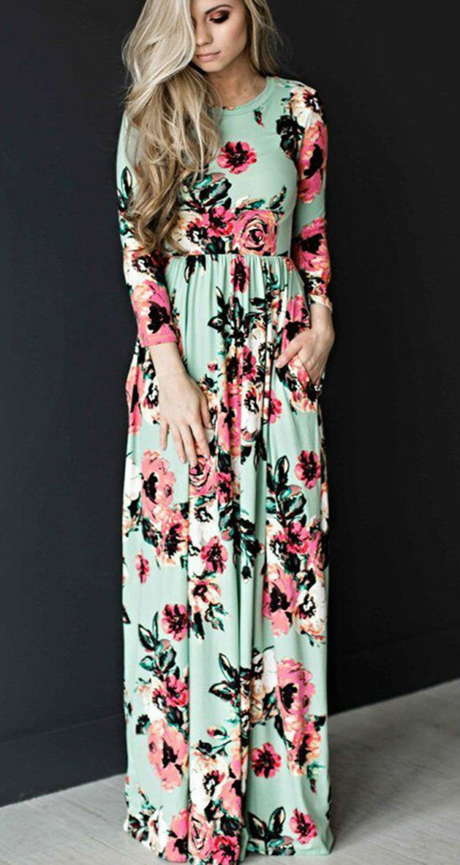 3a70f194b240 Long Sleeve Floral Printed Maxi Prom Dress | Honeymoon | Floral ...