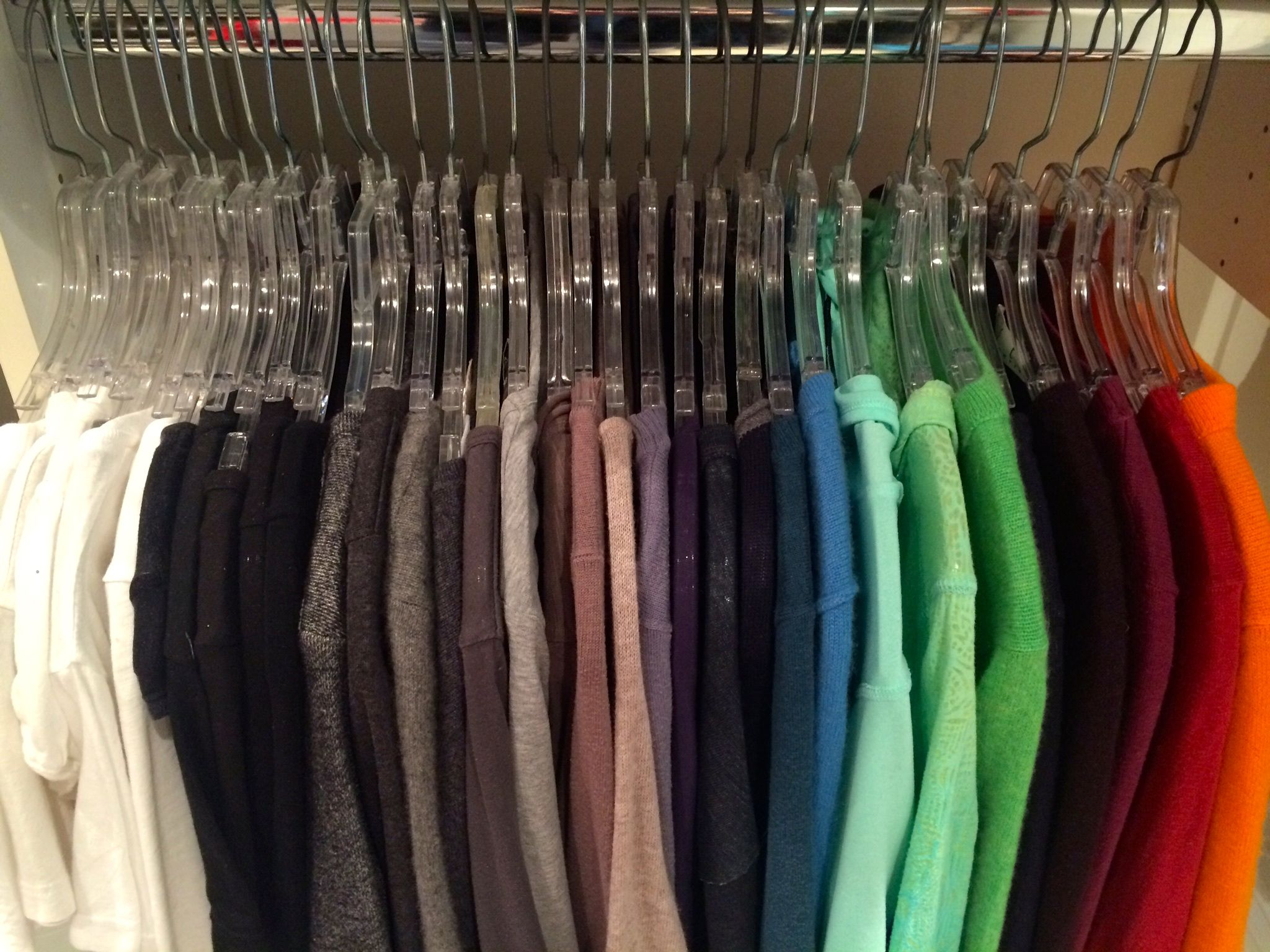 how do i organize clothes by color organized closets