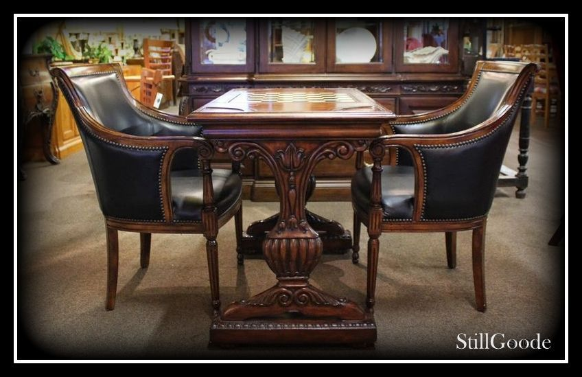 Very Niced 3 Piece Game Table Set Consisting Of Table And 2 Leather Chairs Table Has A Leather Top That Flips To A Checkered Table Leather Chair Leather Seat
