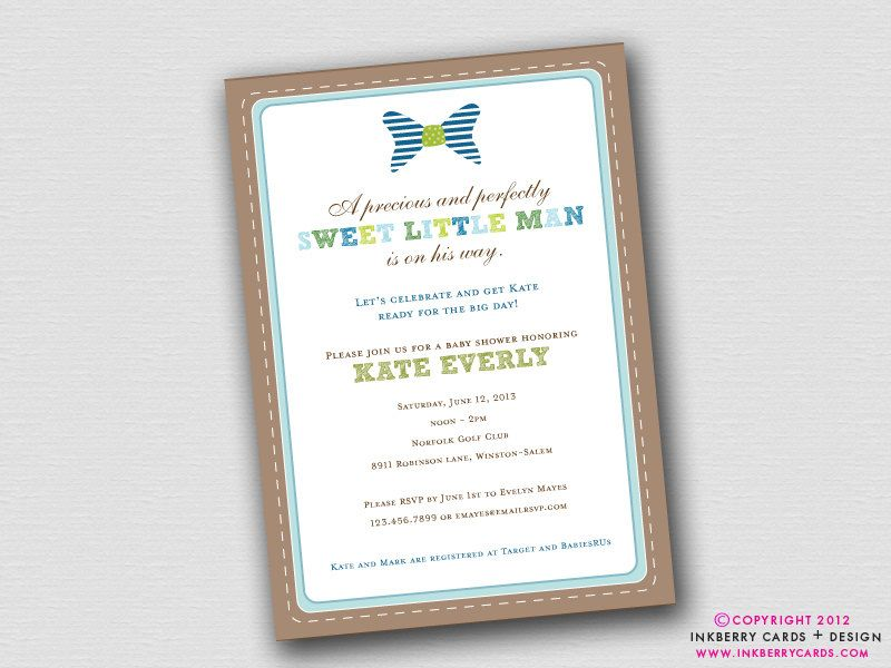 Preppy Little Man - Bow Tie Baby Shower Invitation (Digital File OR ...