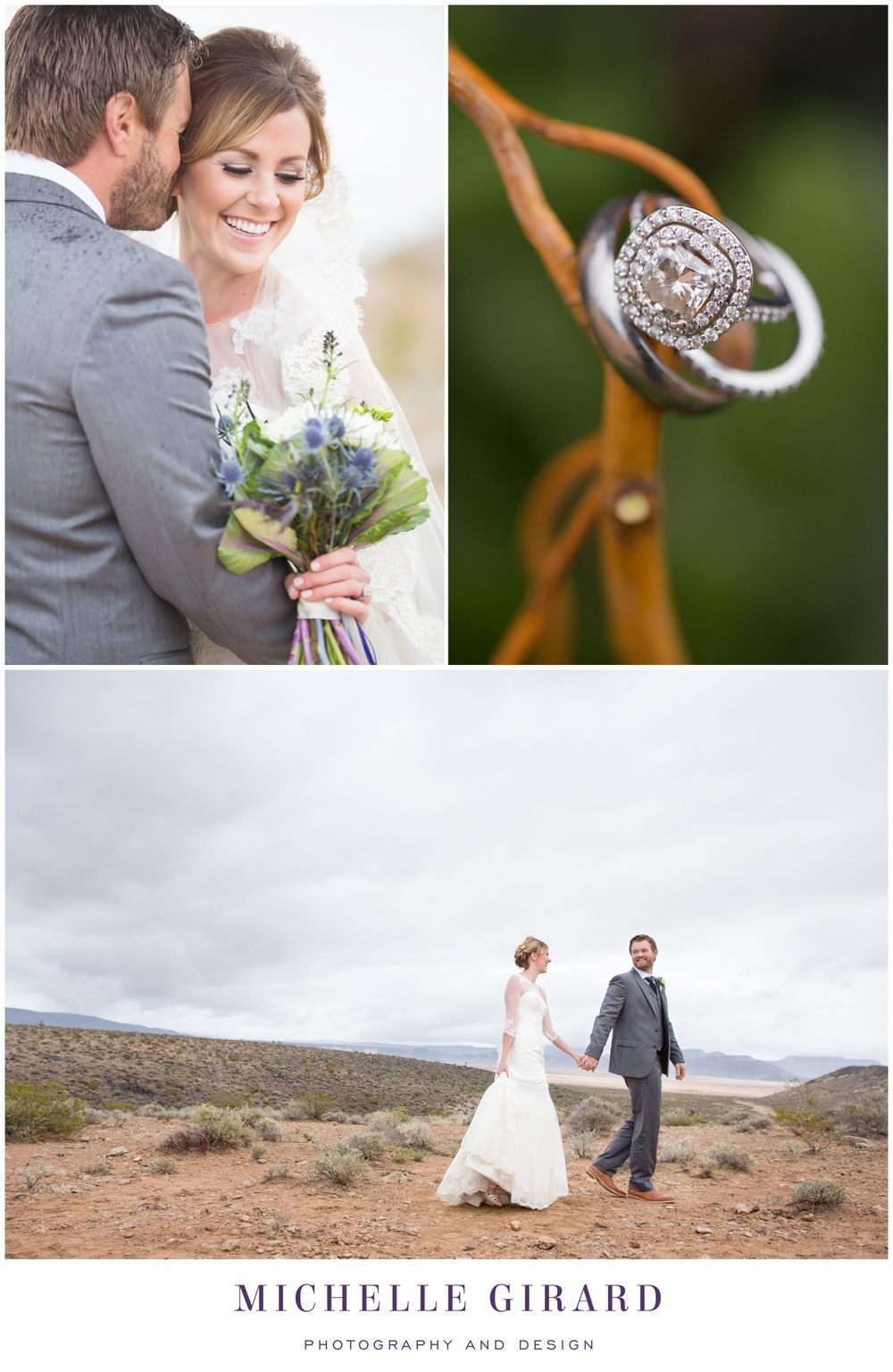 Halo Engagement Ring, Wedding Ring Shot :: Bride and Groom Romantic Portrait :: Cloudy Desert Day :: Classic Wedding Gown with Sheer Details and Cathedral Lace Veil :: Southwest Desert Wedding in Nevada outside of Las Vegas :: Michelle Girard Photography and Design