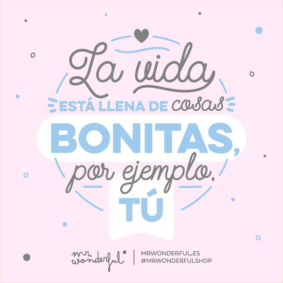 La vida está llena de cosas bonitas por ejemplo tº Mr Wonderful Frases De AmorFrases