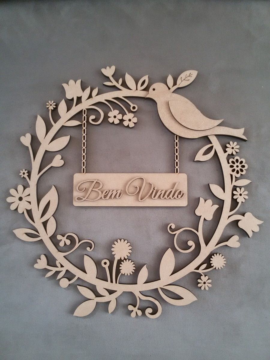 Guirlanda para decorar sua porta mdf 6mm laser e guirlanda for Placas decoradas para pared