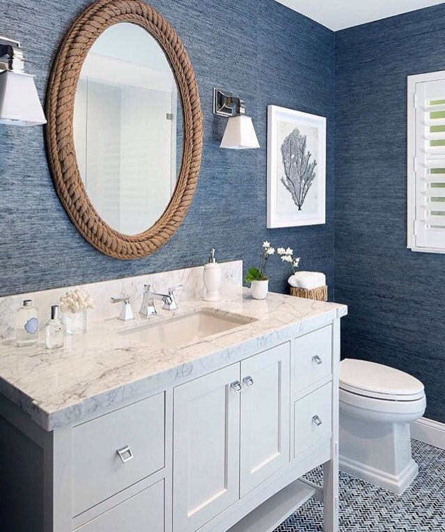 Navy and White bathroom   Bathroom design decor, Coastal ...