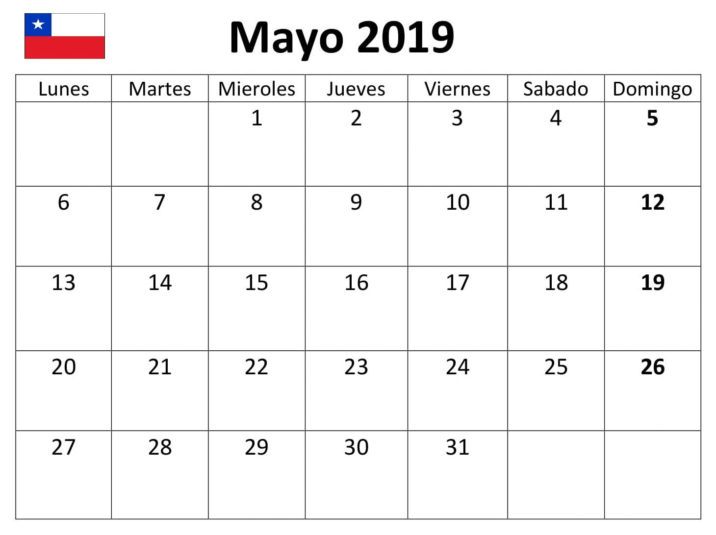 Calendario Mayo 2019 Pdf.Mayo Calendario 2019 Chile Word Calendario Mayo 2019 September