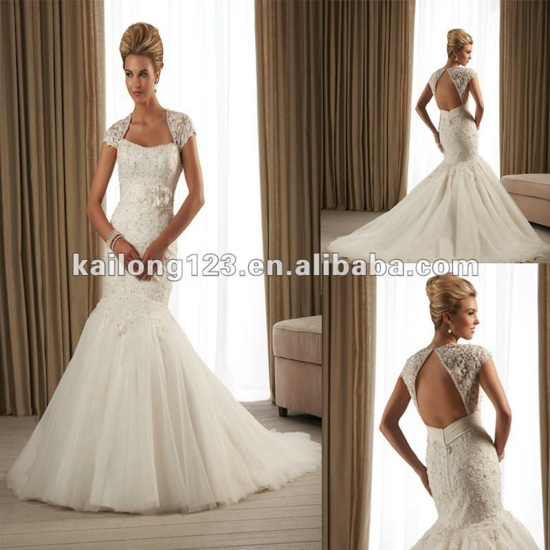 Elegant Cap Sleeves Lace Open Back Mermaid Wedding Dress - Buy ...