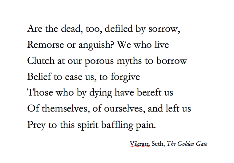 Vikram Seth The Golden Gate Words Anguish Poem Quotes
