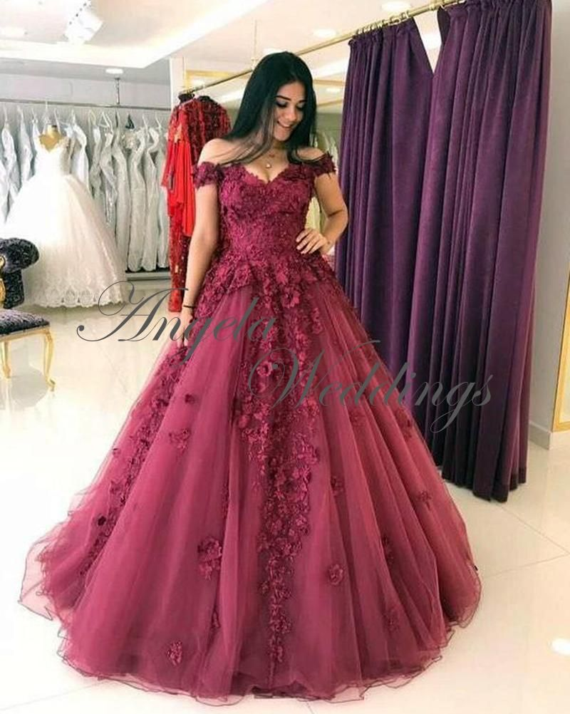 Burgundy prom dresses tulle lace prom gowns with flowers los