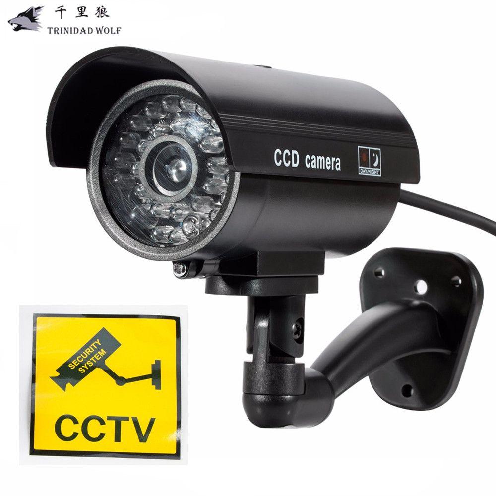 LA LOUP Faux Caméra Factice Intérieur Extérieur Étanche De Sécurité CCTV Caméra  De Surveillance Avec LED Lumière