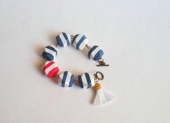 Nautical Geometric Bracelet, Wood Handpainted Bracelet, Sea Bracelet, Geometric Jewelry