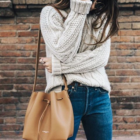 comfy cable knit sweater + blue jeans  38b117c4d