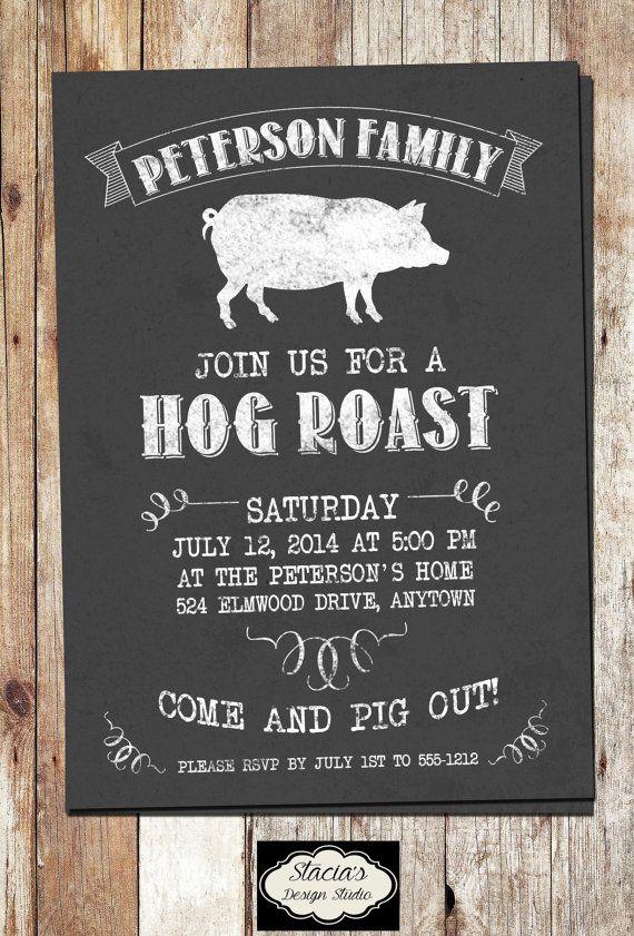 Pig Roast Invitation Chalkboard Hog Roast Digital File Etsy Pig Roast Pig Roast Invitation Roasted Hog