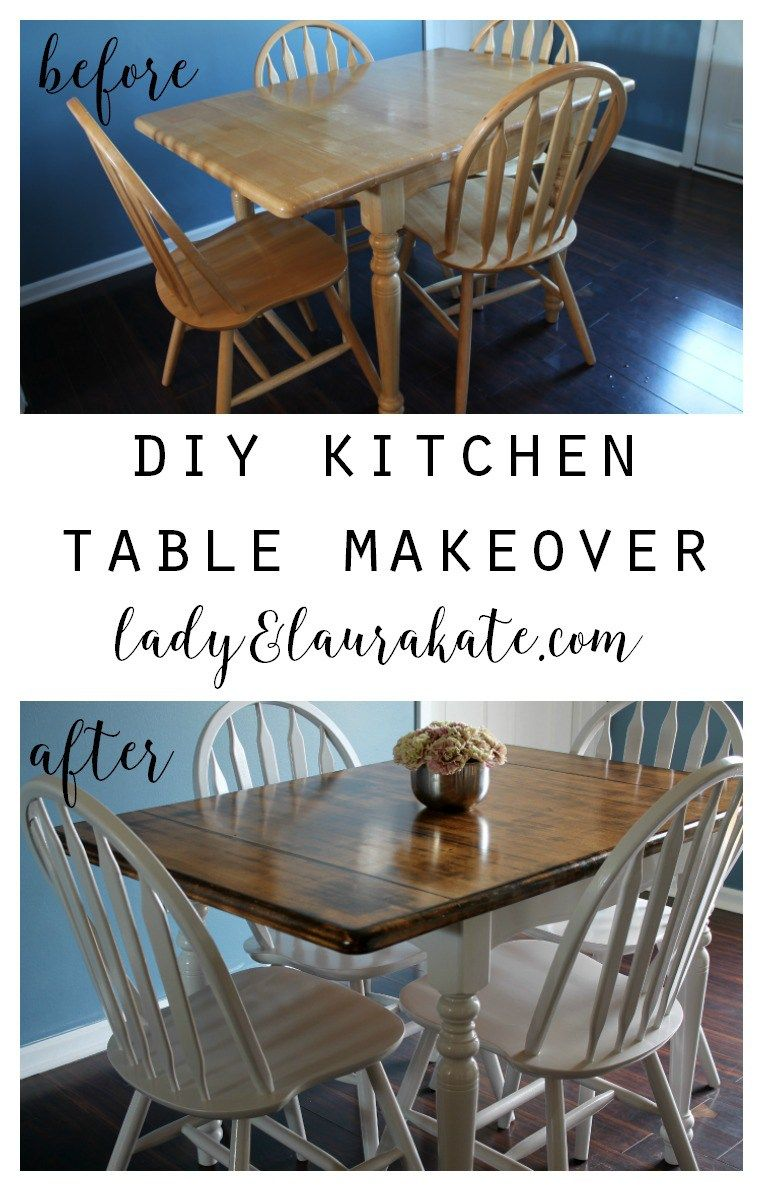 Old Kitchen Table Ideas Part - 20: Painted And Stained Kitchen Table - Lady U0026 Laura Kate
